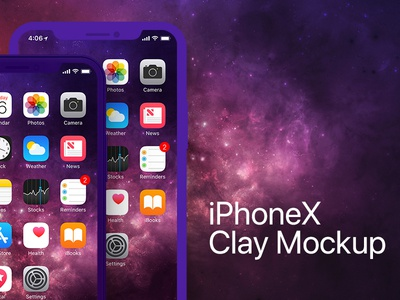 iPhone X Clay Frontal PSD Mockup