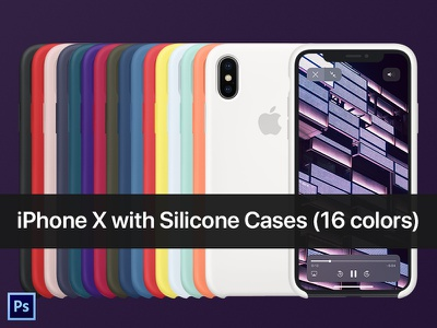 iPhone X with Silicone Case PSD Mockup ios apple color silicone case cover mobile psd mockup iphone x iphone