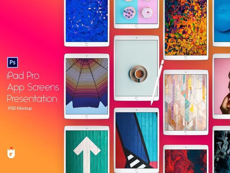 iPad Pro App Screen Presentation Template tablet application design mac app ios presentation mac template apple psd mockup ipad pro