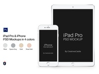 iPhone & iPad Pro PSD Mockups in 4 Colors