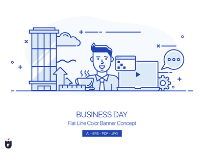 Flat Line Color Banner Concept - Business Day illustration marketing office vector web company work concept banner line business illustrations icon flat