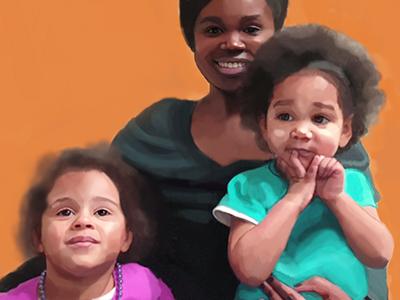 Family Portrait  portrait illustration family kids