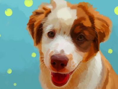 Baby Stella aussie dog puppy dog love illustration