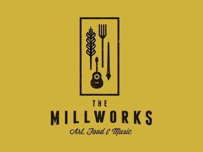 The Millworks logo guitar grain fork paint brush