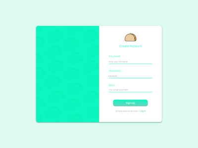 Daily UI :: 001 :: Sign Up  sign up taco daily ui challenge daily ui challenge app illustration web ui sketch vector