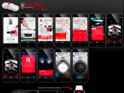 Some screens from Rolls Royce Fashion app prototype android ios concept mobile ux mobile watch car aftereffects icon animation illustration ui css branding vector design mockup ux user experience