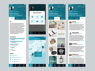 Client work for a people-review app.