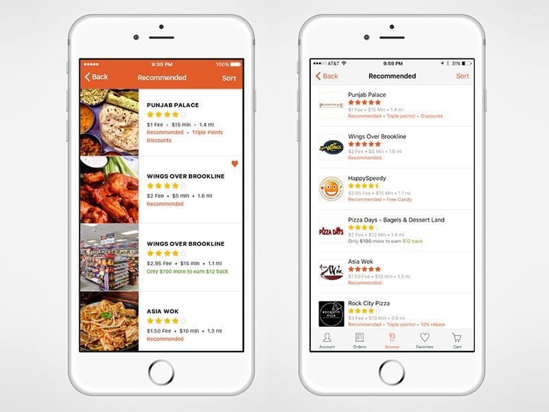 Restaurant List (2 Options) list cards tiles delivery food browse foodler