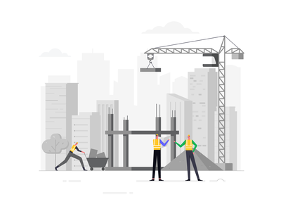 Construction anarock project managment inventory ui illustration vector cityscape process character worker building work