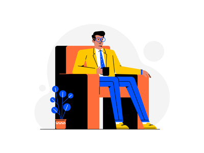 coffee time coffee relaxing man plant style flat vector exploration color practice vectors illustraion