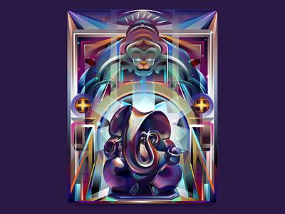 Lord Ganesha colorful project behance design poster artwork illustration vector transparency gradient god indian