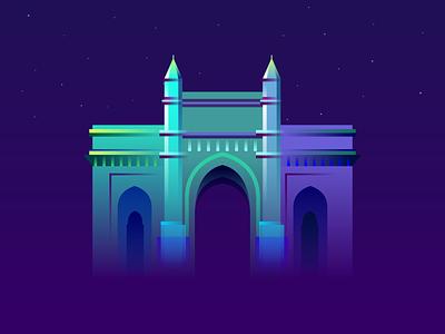 Gateway of India heritage monuments place famous mumbai vector gradient illustration india of gateway