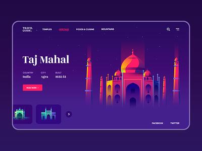 Travel Guide - Web Concept tourism monument gradient design wesite concept page web india tajmahal ui heritage temple guide travel