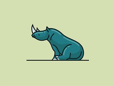 Lazy Rhino  illustration vector mark animal rhinoceros rhino