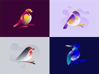 Birds illustrations finch sparrow nature symbol mark icon behance colorful gradient bird