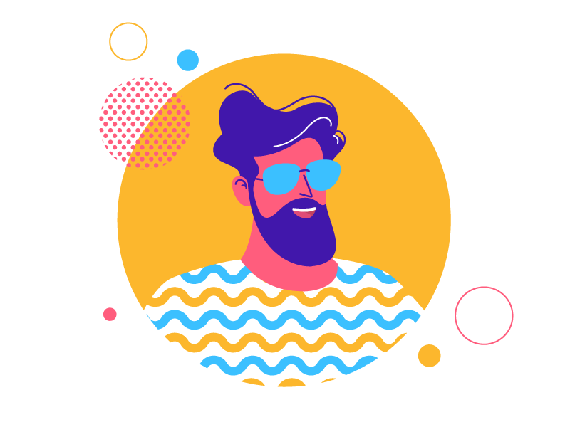 Cool dude pattern cool guy illustration character man beard avatar portrait sunglass circle