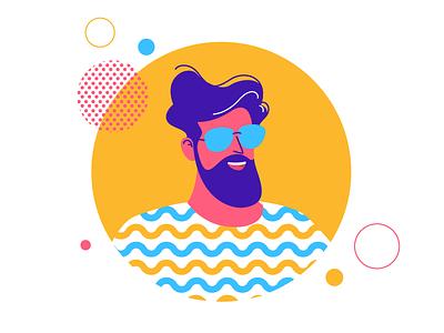 Cool dude pattern cool guy illustration character man beard avatar portrait sunglass circle