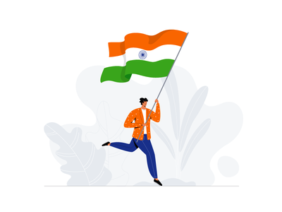 Happy Independence Day celebration flag runnig man guy freedom tricolor india independence