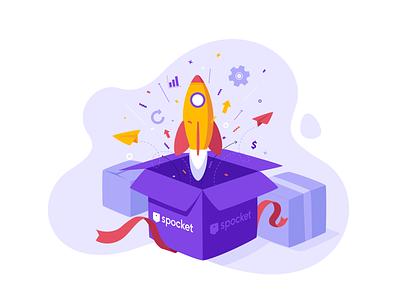 Time to upgrade! app vector illustration celebration gift box plan pro upgrade rocket spocket