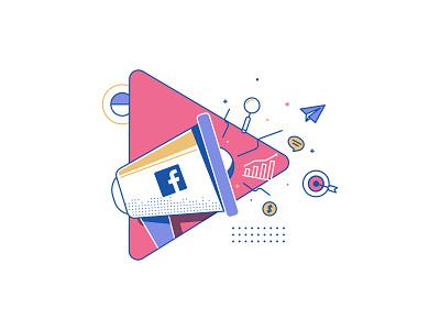Facebook Video Marketing design post blog media social studiotale lineart icon illustration strategy marketing video facebook