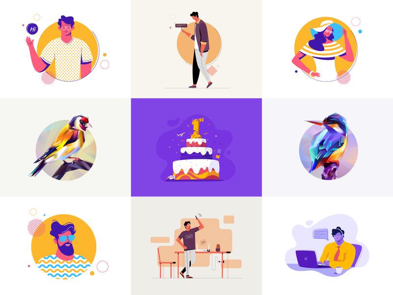 2018 Best Nine app top 2018 nine best 9 violet yellow flat illustration vector notification hi kingfisher cake bird avatar