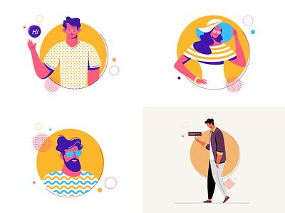 Top 4 of 2018 avatar popular best ui flat dribbble character illustration 2018 top 4