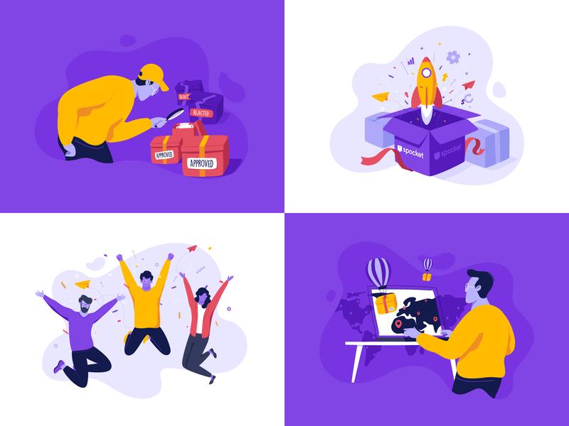Spocket Illustrations - Behance Project full flat vector stylize brand spocket illustration dropshipping project behance