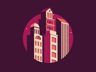 Cityscape Illustration icon negative space branding illustrator real estate color debut flat cityscape building illustration