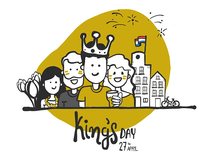 King's Day party celebrations culture orange apple pencil ipad pro illustration the netherlands holland kings day amsterdam yieldr