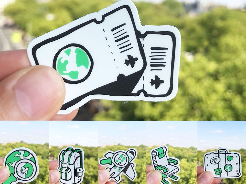 Yieldr - Stickers illustrations tickets luggage world backpack airplanes travel airlines stickermule stickers yieldr swag