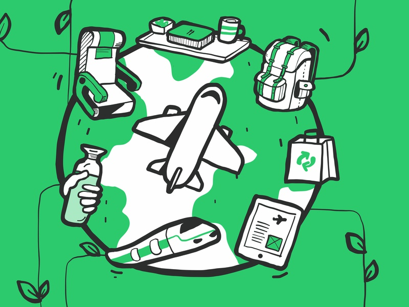 Blog Post Hero image ipad pro apple pencil handrawn travel illustration profitable sustainability eco-friendly airlines hero image blog post yieldr