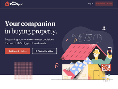 The Onespot landing page graphic design property realestate