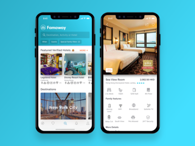 Family travel app mock ios accommodation mock design iphone x