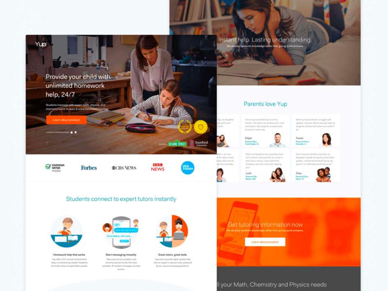 Yup landing page design homepage website landingpage