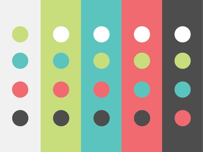 Quantum Dots: Art Print color scheme test color retro vintage circles mid century modern sherbert spots pattern dots inversion vertical dot grid happy colors lines columns rows grid color palette stripes