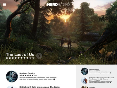 NerdRating.com Website Concept (Better view) nerd nerdrating transparent top bar transparent header gravity the last of us website video games reviews ratings search menu minimal stars blog magazine hero image photo background