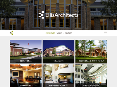 Ellis Architects Mobile First Website Design tuscaloosa design tuscaloosa al architecture architect architect website website responsive mobile-first grid gallery fluid adaptive overlay minimalist
