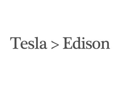 Tesla > Edison, Simple T-Shirt typography facts math statement nerd tshirt edison greater than tesla