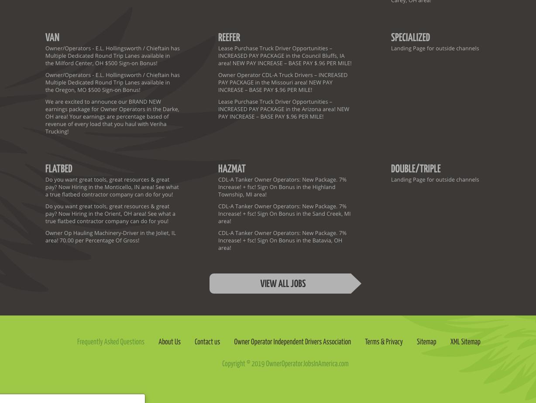 Owner Operator Jobs website design / 2015 by Paris Vega on