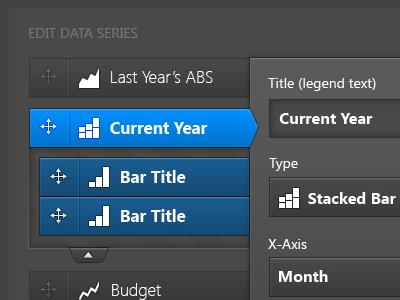 Chart/graph data editor reports charts graphs editor app ui interface accordion drag and drop