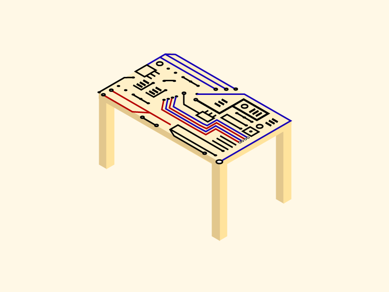 Circuits and table isometric 3d vector illustration