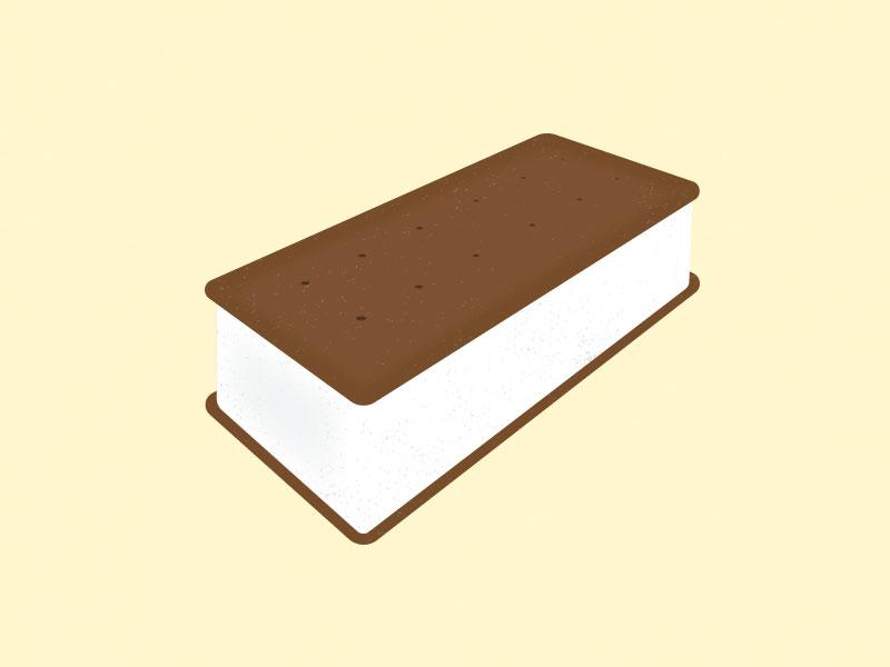 Ice Cream Sandwich minimal line drawing illustration icon drawing
