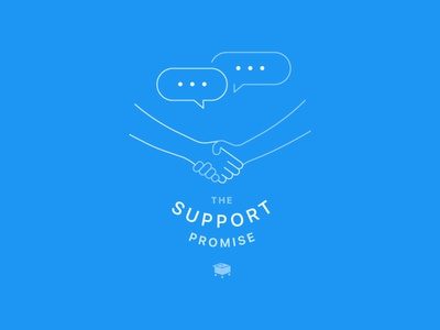 SamCart Support Promise promise bubble chat handshake support