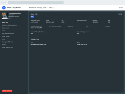 Web Platform Profile - Dark dashboard form profile platform web