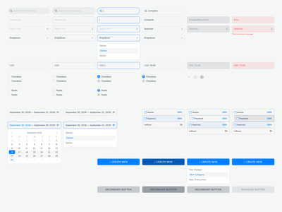 Interactive Component Kit dropdown accordian calendar button input fields input interactive components kit system product ux design ui