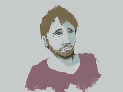 Portrait beard man painting procreate illustraion