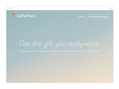SoPerfect landing page landing page web gradient love gift app