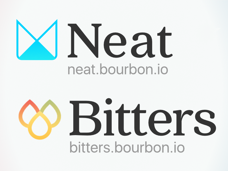 Neat & Bitters logo revs code logo sass open source
