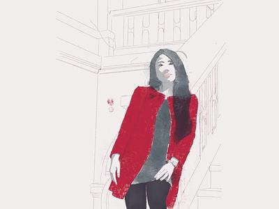 Qian at library digital illustration red color procreateapp flat illustation
