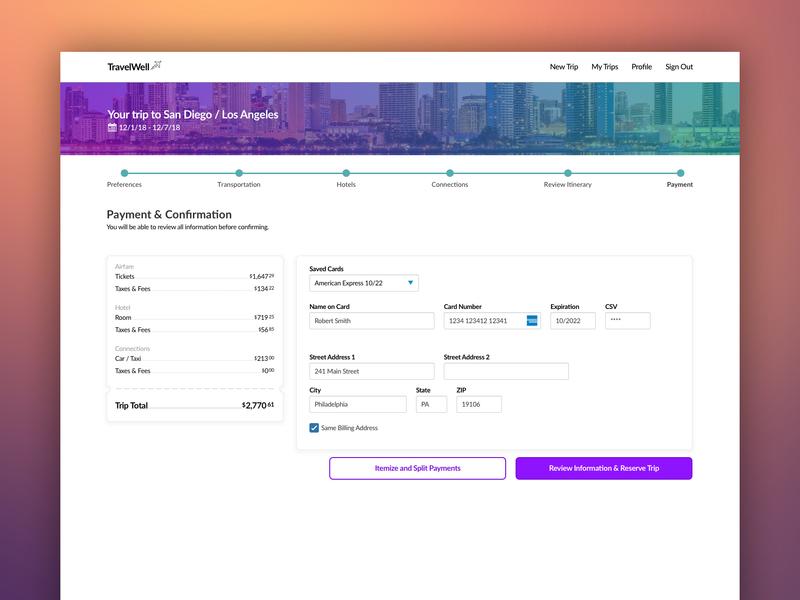 Payment Flow travel ui ux payment form